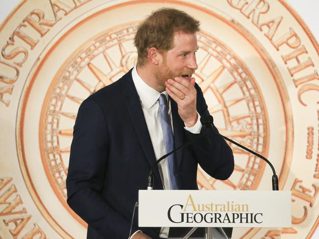The Duke of Sussex, his Royal Highnesses Prince Harry, spoke of environmental dangers at the Shangri-La Sydney. Picture: Dylan Robinson
