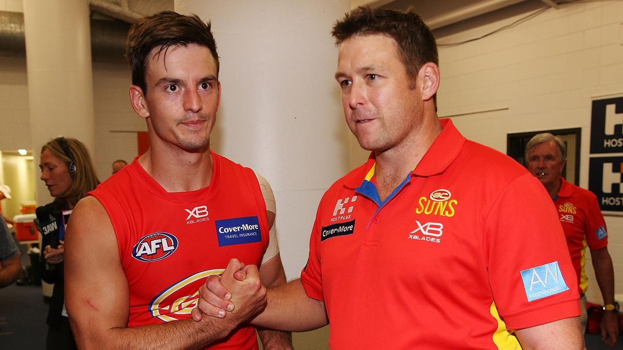 Jarryd Lyons and Stuart Dew. Photo: Michael Dodge/Getty Images