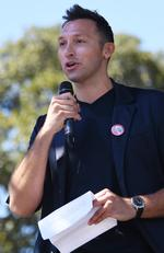 Ian Thorpe speaks after watching the same sex marriage vote result announcement during a picnic held by the Equality Campaign at Prince Regent Park in Sydney, Wednesday, November 15, 2017. Picture: AAP Image/David Moir