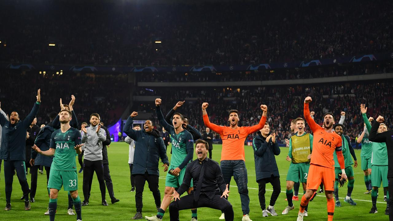 Pochettino and Spurs celebrate winning their Champions League semi-final tie