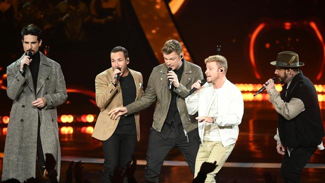 Backstreet Boys perform in March 2019 with Carter in the centre. Picture: Kevin Winter/Getty
