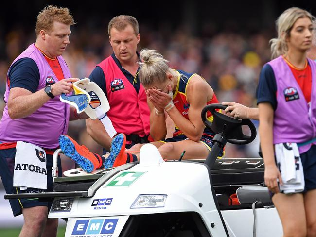 Erin Phillips was distraught after the injury.