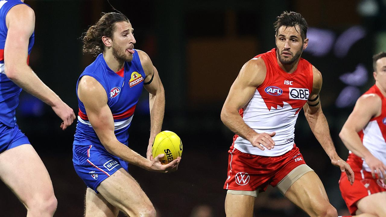 Western Bulldogs' Marcus Bontempelli and Sydney's Josh Kennedy in action. Picture: Phil Hillyard