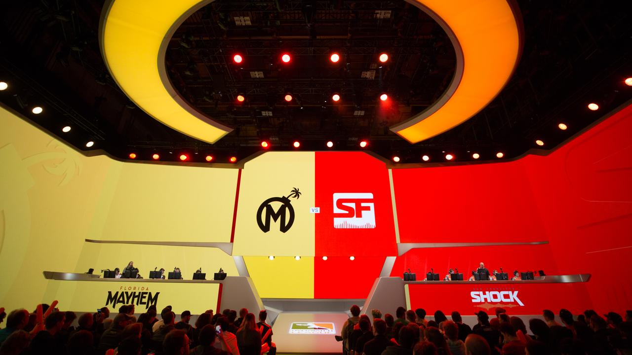 The Florida Mayhem and San Francisco Shock get set for a match in the Overwatch League. Photo: Robert Paul for Blizzard Entertainment