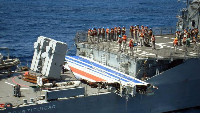 Brazilian frigate Constituicao with a huge part of the tailfin of the Air France A330 aircraft that crashed during midflight over the Atlantic Ocean in 2009.