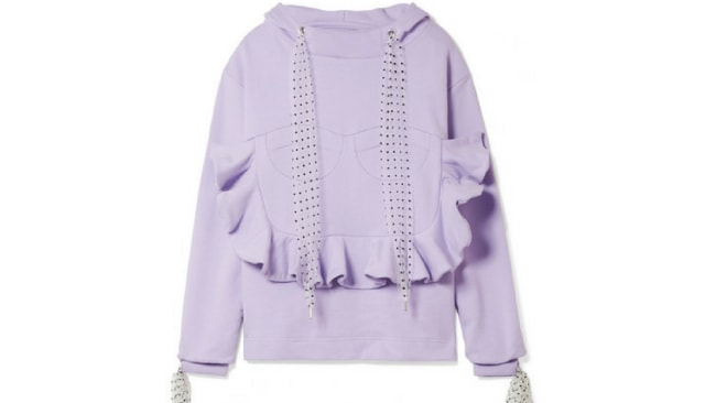 House of Holland Flocked tulle-trimmed ruffled cotton-jersey hooded top. $213 www.netaporter.com