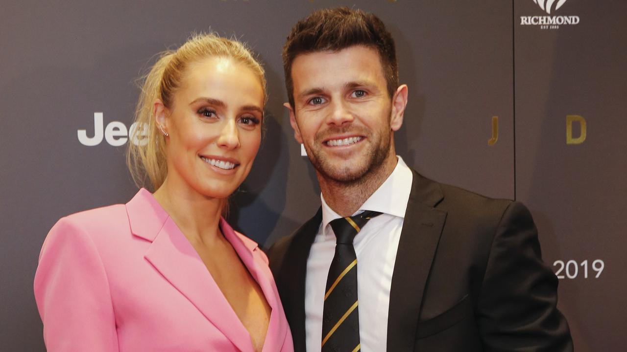 Trent Cotchin and partner Brooke Cotchin at Richmond's 2019 best and fairest. Picture by Wayne Taylor