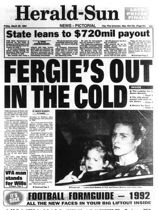 Front page of the Herald Sun in 1992.