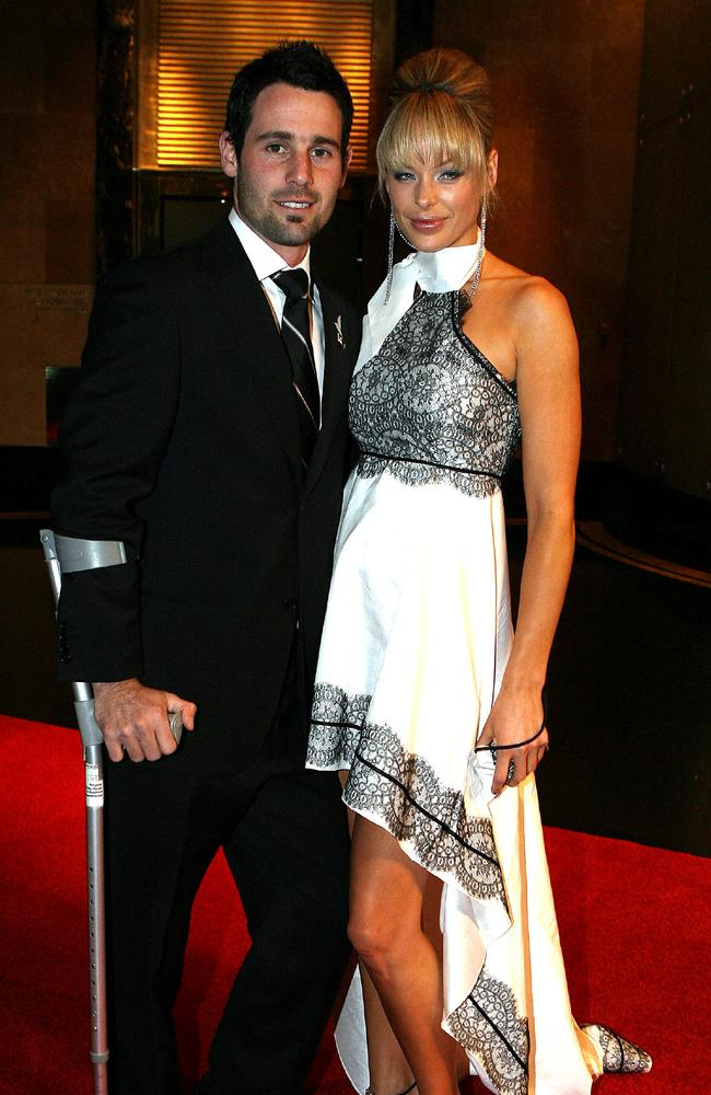 Footballer Alan Didak with girlfriend Cassie Lane in the dress that was criticised at Brownlow Medal in 2006.