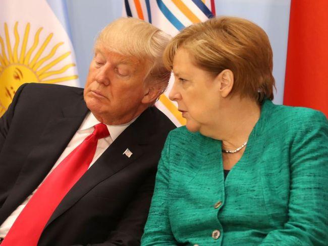 Trump with Angela Merkel at G20 Summit, Hamburg, Germany. July 11, 2017. Photo: Matt Cardy/Getty Images.