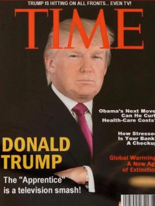 "The US President was roundly mocked after a series of ""fake"" covers were found to be hanging in his various golf clubs. Picture: Supplied"