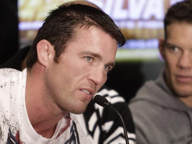 Chael Sonnen speaks during a news conference.
