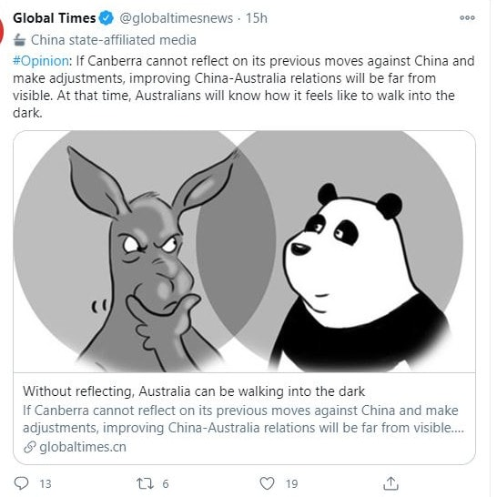 The Global Times had strong words for Australia this week.