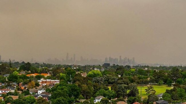 The view of the City from Camberwell on Thursday. Picture: @tjbalon
