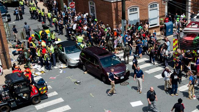 Statistics show right wing terrorist attacks like the Charlottesville ramming in 2017, are becoming more frequent. Picture: AFP