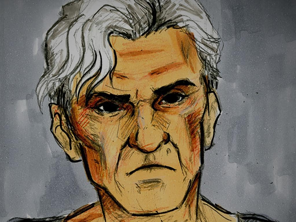 A court sketch of former AFL player and coach Dean Laidley during a bail hearing at Melbourne Magistrates Court, Melbourne, on Monday, May 11, 2020. Laidley has been released on bail to attend an inpatient rehab facility after he was accused of stalking a woman. (AAP Image/Nine News) NO ARCHIVING