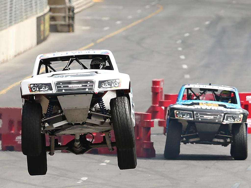 ADELAIDE, AUSTRALIA - FEBRUARY 27: Drivers race during race 1 of the Toyo Tires Robby Gordon's Stadium Super Trucks as a support event to the V8 Supercars Clipsal 500 at Adelaide Street Circuit on February 27, 2015 in Adelaide, Australia. (Photo by Morne de Klerk/Getty Images)