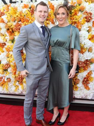 Jeff Horn with Sally Pearson at the Melbourne Cup. Photo: Alex Coppel.