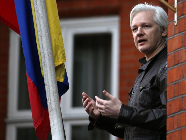 Julian Assange on the balcony of the Embassy of Ecuador in London in 2017. Picture: AFP/Daniel Leal Olivas