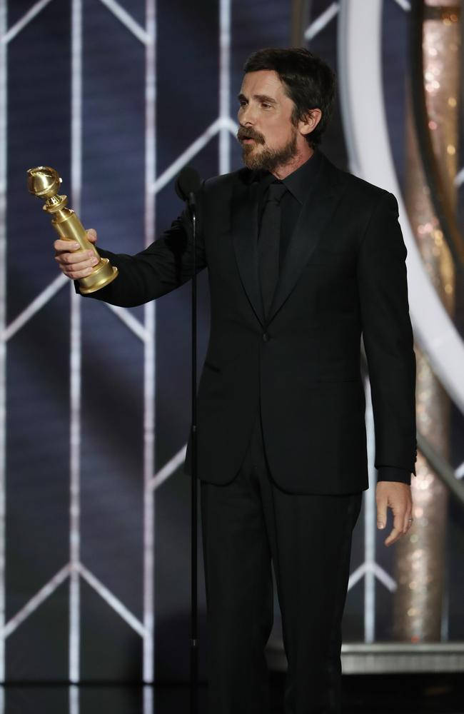 Christian Bale accepts the Best Actor in a Motion Picture Musical or Comedy award onstage during the 76th Annual Golden Globe Awards. Picture: Getty Images
