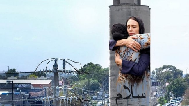 An artist impression of the large mural of New Zealand Prime Minister hugging a grieving woman that will be painted on the silo in Brunswick. Source: GoFundMe