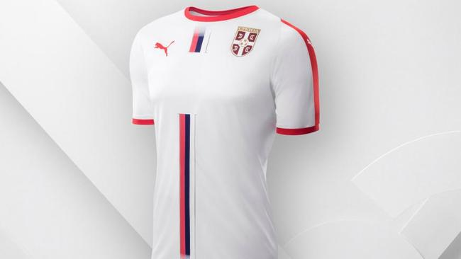Serbia's white Puma away kit features a red, blue and white stripe