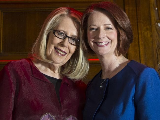In defence of Gillard ... Writer Anne Summers poses with former Prime Minister Julia Gillard before the event 'Anne Summers Conversations with Julia Gillard' at Melbourne Town Hall. Picture: Walmsley Stuart Cas