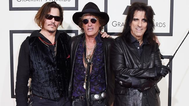 Johnny Depp, Joe Perry, and Alice Cooper of The Hollywood Vampires. Picture: Getty