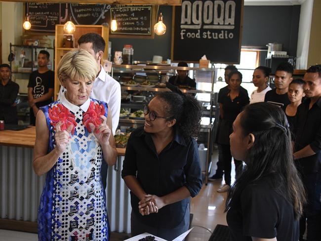 Julie Bishop meets students at the Agora Food Studio in Dili, East Timor in July. Picture: Greg Roberts.