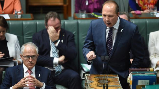 Australian Minister for Immigration and Border Protection Peter Dutton speaks during House of Representatives Question Time. Picture: AAP Image/Lukas Coch
