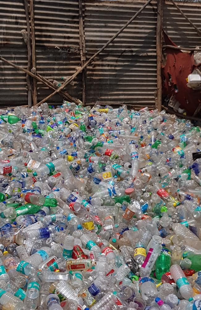 India is 'drowning in plastic', but the waste pickers' collection (above) at Shaktiman's camp will be recycled into high-end cosmetic packaging. Picture: Candy Sutton.