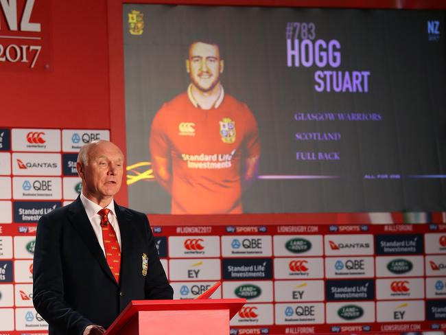 Tour manager John Spencer announces the Lions players during the squad announcement.