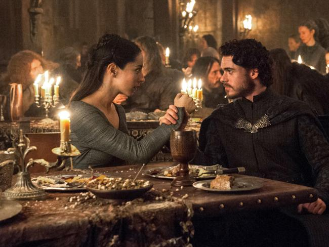 King of the North Robb Stark and his wife Talisa enjoy the hospitality of Walder Frey … shortly before being betrayed. Picture: HBO