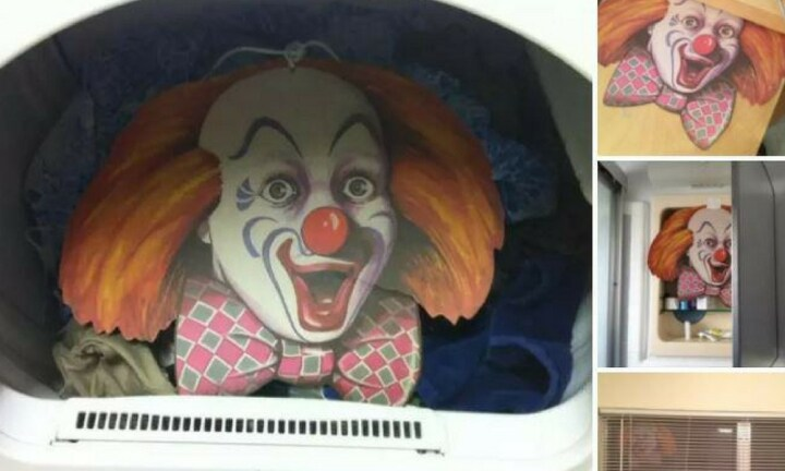 <b>Clowning Around</b>  <p>This husband played with his wife's emotions, strategically placing giant clown faces around their home. Nothing screams welcome home like a creepy face lurking in your window and washing machine.</p>