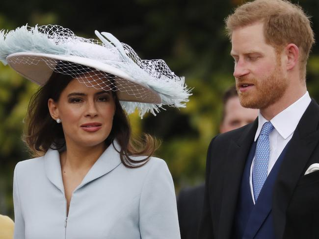 Prince Harry arrived with Lady Frederick Windsor for the wedding of Lady Gabriella Windsor and Thomas Kingston at St George's Chapel, Windsor Castle. Picture: AP Photo