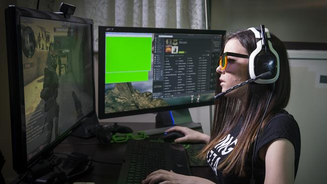 Gamers no longer fit the stereotype ... Adelaide woman Sarah Pike, 22, known online as Artemis, plays against online opponents. Picture: Supplied.