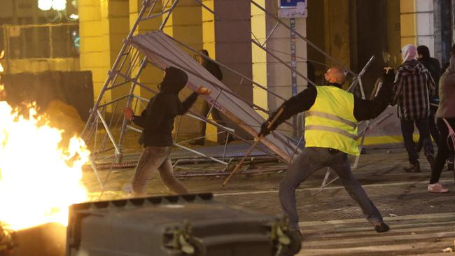 Demonstrators clash with police in Marseille. Picture: AP