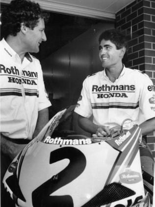 Doohan with Burgess and the bike which should have taken him to his maiden title.