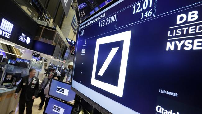 Deutsche Bank is traded on the floor of the NYSE. Picture: Richard Drew/AP