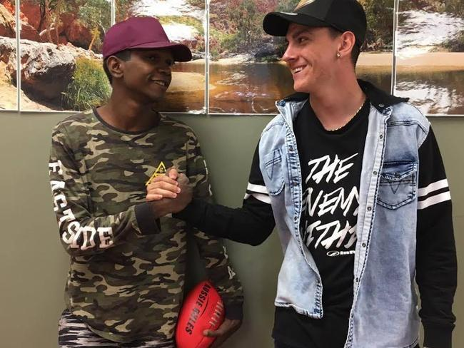 Dylan Voller pictured with fellow BushMob participant, Dixon, who has also spent time in youth detention. Picture: SBS/NITV