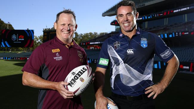 Queensland coach Kevin Walters and New South Wales mentor Brad Fittler at Adelaide Oval for the State of Origin announcement. Picture: Sarah Reed
