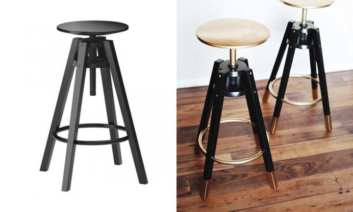 "A plain DALFRED stool from IKEA will set you back $65 - but you can make it into a feature that will attract all the right attention just by adding some gold spray paint!  <a href=""https://mymelodrama.com/2014/01/21/dalfred-ikea-bar-stools-makeover/"">See how they did it</a>"