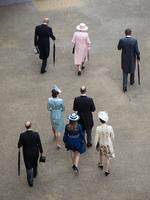 Members of the Royal Family arrive to greet guests at a garden party at Buckingham Palace on May 16, 2017 in London, England. Picture: Getty