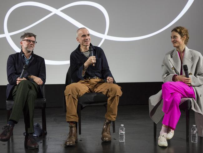 Director Paul Thomas Anderson, Day-Lewis and Krieps on stage discussing Phantom Thread at a recent screening in London. Picture: John Phillips/Getty Images