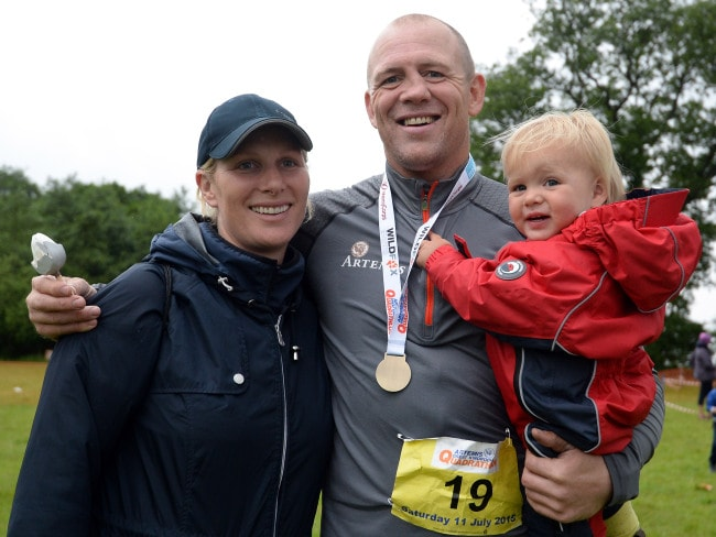Zara and Mike Tindall and their eldest daughter Mia in Aberfeldy, Scotland, 2015. Photo: Nigel Roddis/Getty Images