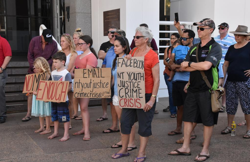 Territorians vent frustrations at crime rally outside parliament
