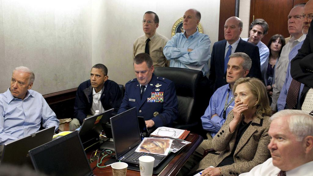 Barack Obama, his vice president Joe Biden, secretary of state Hillary Clinton and other officials during the operation that killed bin Laden. Picture: AP/White House