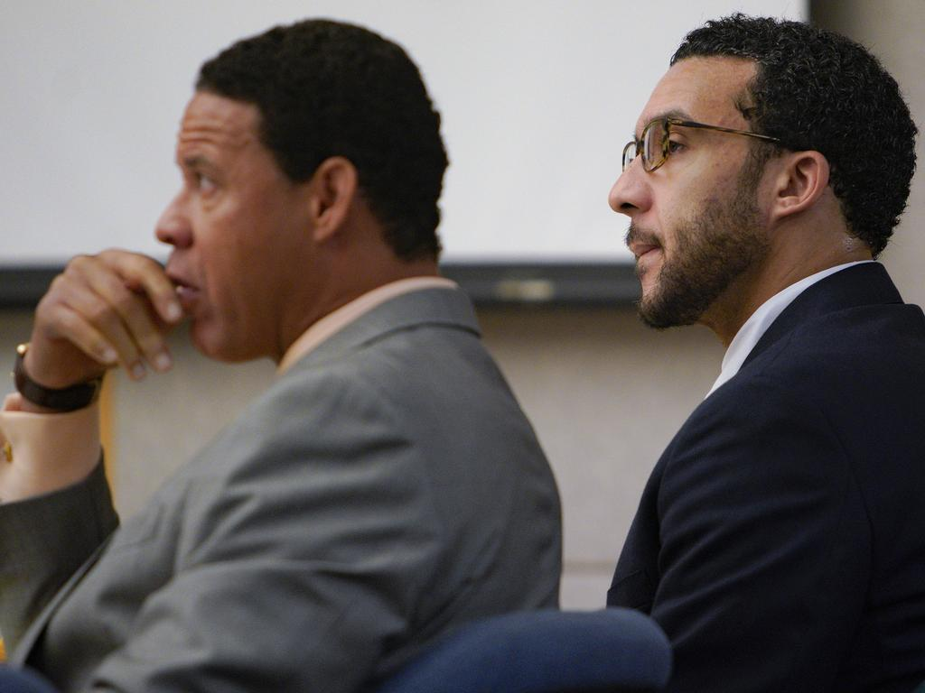 Sitting in Superior Court in Vista, Kellen Winslow, Jr., is flanked by his three defence lawyer, Brian Watkins. Picture: AP
