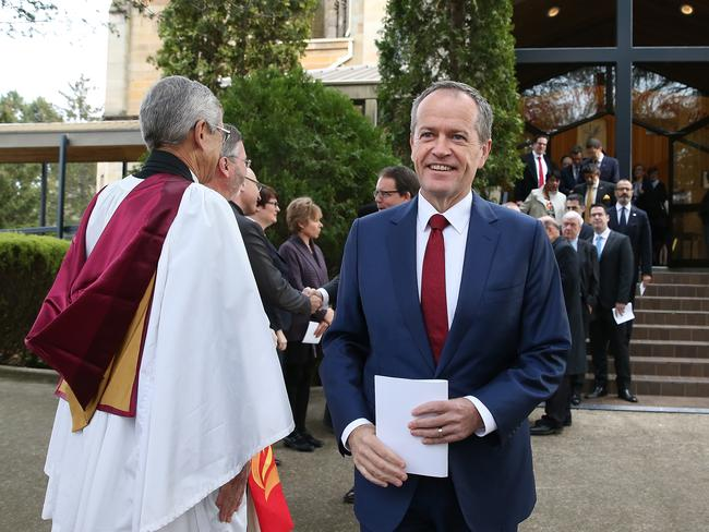 Bill Shorten at the Parliamentary Church Service to mark the 45th Parliament at St Andrew's Presbyterian Church in Canberra. Picture: Kym Smith