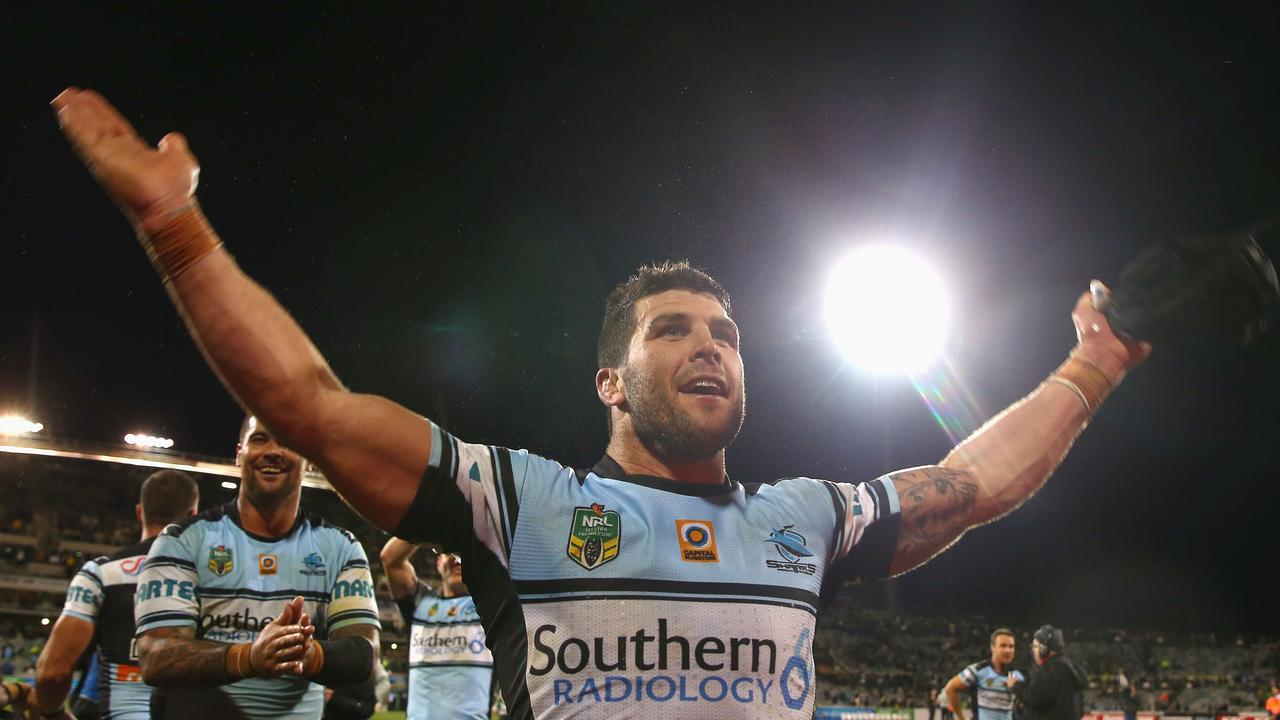 Michael Ennis of the Sharks celebrates victory over the Raiders in 2016